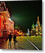 Night View Of Gum And Saint Basil Cathedral In Red Square In Moscow-russia Metal Print