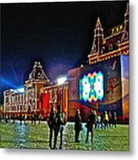Night View Of Gum-former State Department Store-in Red Square In Moscow-russia Metal Print
