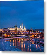 Night View Of Moscow Kremlin In Wintertime - Featured 3 Metal Print