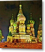 Night View Of Saint Basil Cathedral In Red Square In Moscow-russia Metal Print