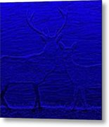 Night View With Deers Digital Painting Metal Print
