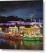 Nightlife At Clarke Quay Singapore Aerial Metal Print