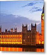 Nightly View - Houses Of Parliament Metal Print by Melanie Viola
