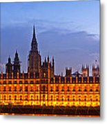 Nightly View London Houses Of Parliament Metal Print