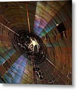 Nighttime Spider Web Metal Print