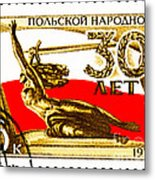 Nike Holding A Sword With The Polish Flag Behind Metal Print