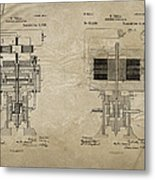 Nikola Tesla's Electrical Generator Patent 1894 Metal Print