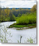 Nisqually River From The Nisqually National Wildlife Refuge Metal Print