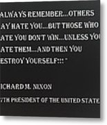 Nixon Quote In Negative Metal Print
