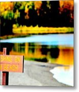 No Fishing On Swim Beach I Metal Print