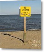 No Lifeguard Sign At Sandy Point Metal Print