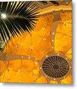 Sunshine Yellow Silk Decor With Stars Metal Print