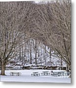Snowy Picnic Ground In Winter Metal Print