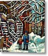 No School Today Out For A Snowy Walk Verdun Winter Winding Staircases Montreal Paintings C Spandau Metal Print