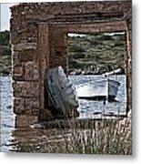 Vintage Boat Framed In Nature Of Minorca Island - Hide And Seek Metal Print