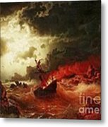 Nocturnal Marine With Burning Ship Metal Print