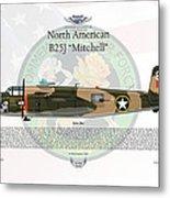 North American B-25j Mitchell Yellow Rose Metal Print