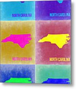 North Carolina Pop Art Map 2 Metal Print