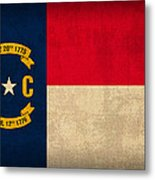 North Carolina State Flag Art On Worn Canvas Metal Print by Design Turnpike