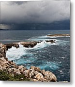 Wild Rocks At North Coast Of Minorca In Middle Of A Wild Sea With Stormy Clouds Metal Print