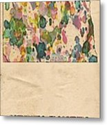 North Dakota Map Vintage Watercolor Metal Print