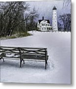 North Point Lighthouse And Bench Metal Print