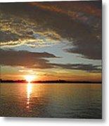 North River Sunset Metal Print