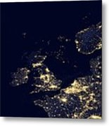 North Sea At Night, Satellite Image Metal Print by Science Photo Library