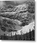 1m3536-bw-north Side Crowfoot Mountain  Metal Print