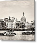 North Side Of The Thames Bw Metal Print