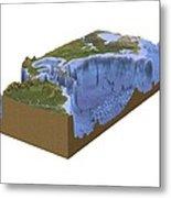 North-western Atlantic, Bathymetry Model Metal Print