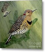 Northern Flicker And Red-breasted Nuthatch Metal Print