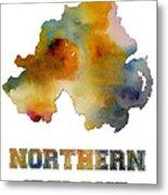 Northern Ireland Watercolor  Map Metal Print