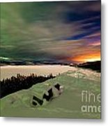 Northern Lights And City Light Pollution Night Sky Metal Print