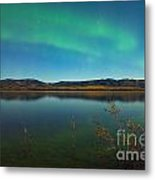Northern Lights And Fall Colors At Calm Lake Metal Print