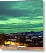 Northern Lights Aurora Borealis Over Rural Winter Metal Print