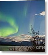 Northern Lights Full Moon Over Lake Laberge Yukon Metal Print