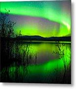 Northern Lights Mirrored On Lake Metal Print