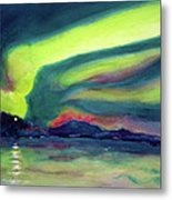 Northern Lights On Superior Shores Metal Print