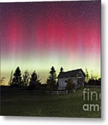 Northern Lights Over Foster Covered  Bridge Cabot Vt Metal Print