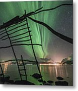 Northern Lights Rays Metal Print