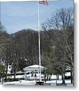 Northport Gazebo In The Snow Metal Print