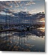 Northwest Marina Sunset Sunstar Metal Print