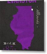 Northwestern University Wildcats Evanston Illinois College Town State Map Poster Series No 080 Metal Print