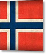 Norway Flag Distressed Vintage Finish Metal Print by Design Turnpike