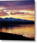 Norwegian Fjordland Sunset Metal Print