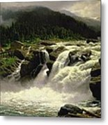 Norwegian Waterfall Metal Print by Karl Paul Themistocles van Eckenbrecher