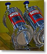 Nos Bottles In A Racing Truck Trunk Metal Print