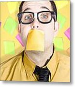 Notice Board Businessman With Crazy To-do List Metal Print