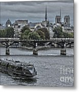 Notre Dame And Boat On The River Seine Paris Metal Print